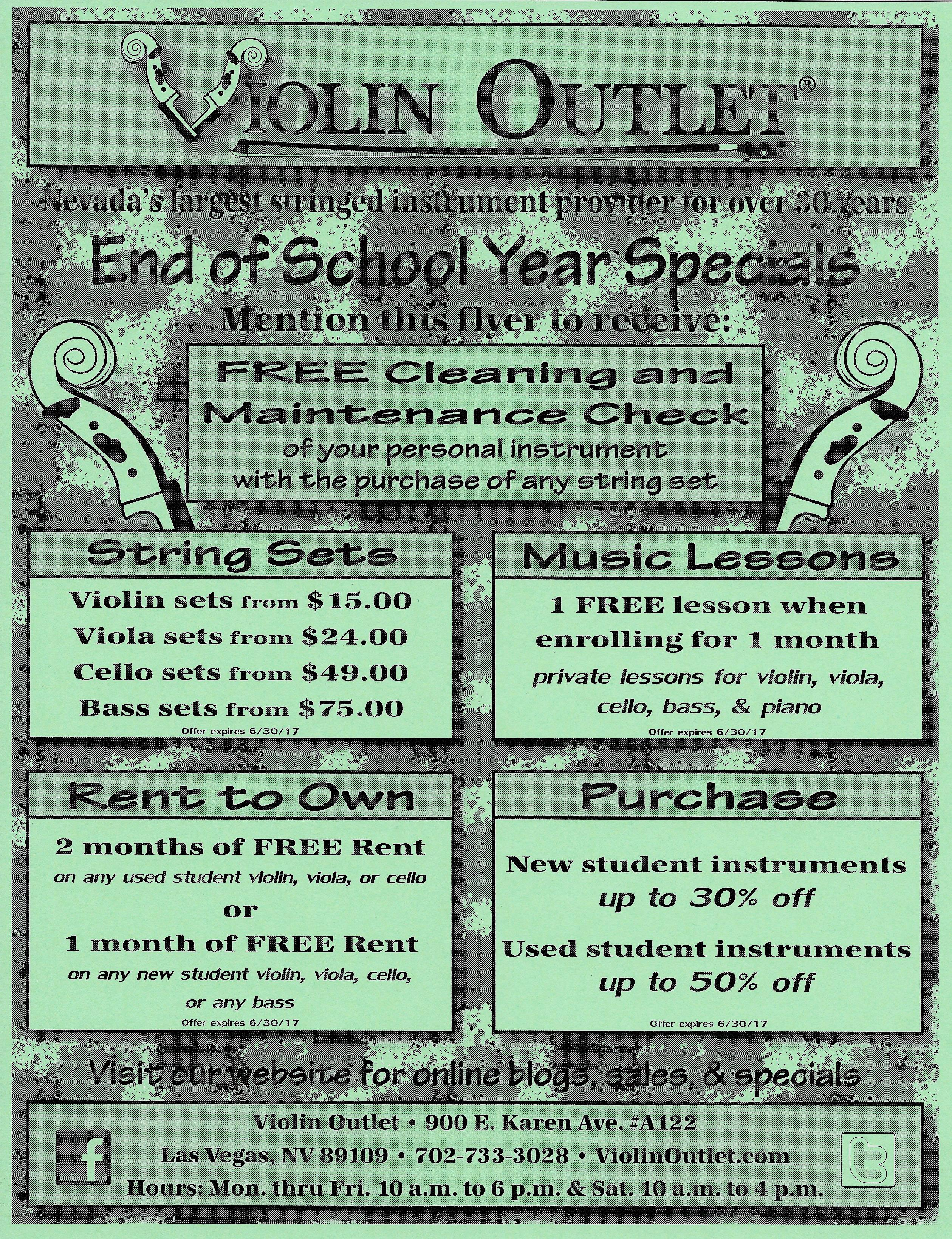 End of School Year  Specials