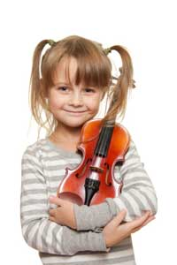 Young girl holding violin