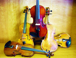 Picture of vintage and fine violins