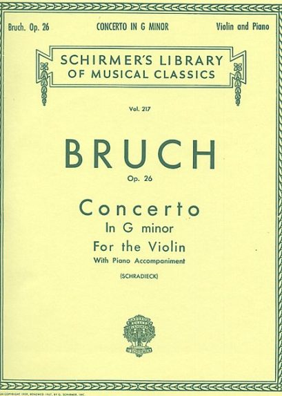 Bruch Concerto in G Minor for Violin – Schirmer ed.