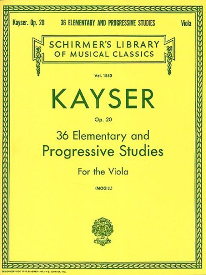 Kayser 36 Elementary and Progressive Studies for Viola – Schirmer Ed.