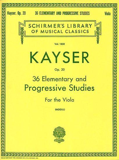 Kayser 36 Elementary and Progressive Studies for Viola – Schirmer Ed.