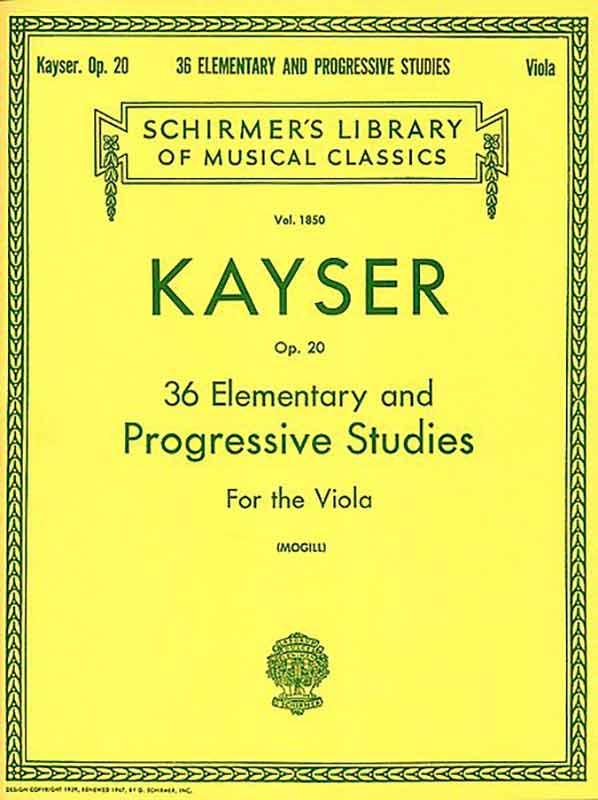 Kayser 36 Elementary and Progressive Studies for Viola