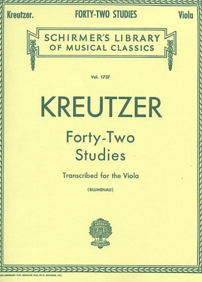 Kreutzer 42 Studies Transcribed for Viola – Schirmer Ed.