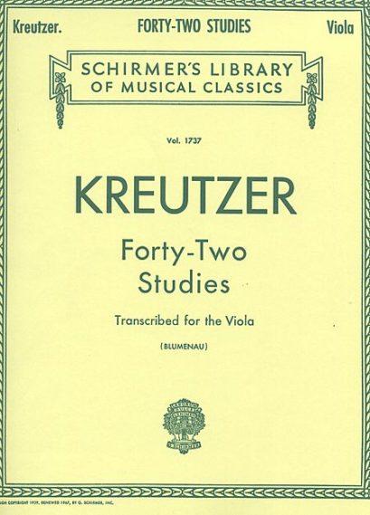 Kreutzer 42 Studies Transcribed for Viola – Schirmer Ed.