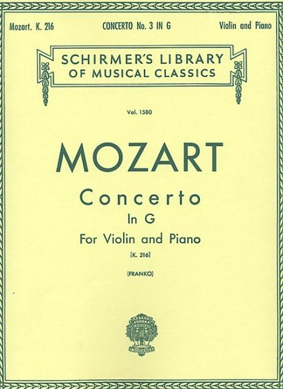 Mozart Concerto No. 3 in G for Violin – Schirmer ed.