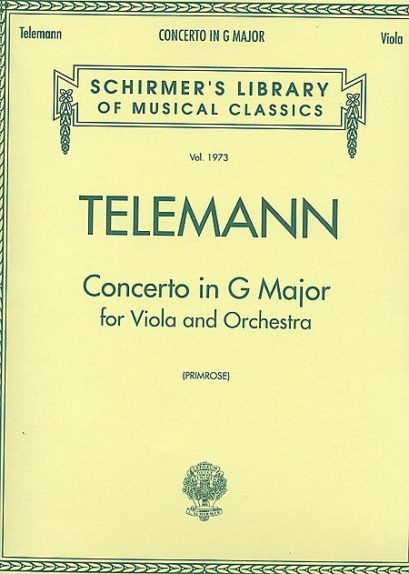 Telemann Concerto in G for Viola – Schirmer Ed.