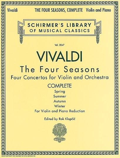 Vivaldi The Four Seasons Complete for Violin – Schirmer ed.
