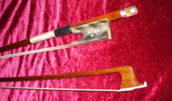 Silver Arcos Brasil Fleur de Lis Horn Violin Bow