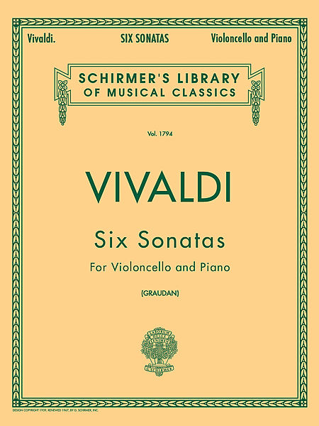 Vivaldi Six Sonatas for cello - Schirmer Ed.
