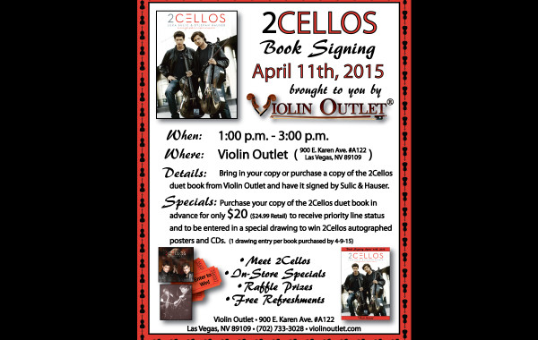 2Cellos Book Signing at Violin Outlet