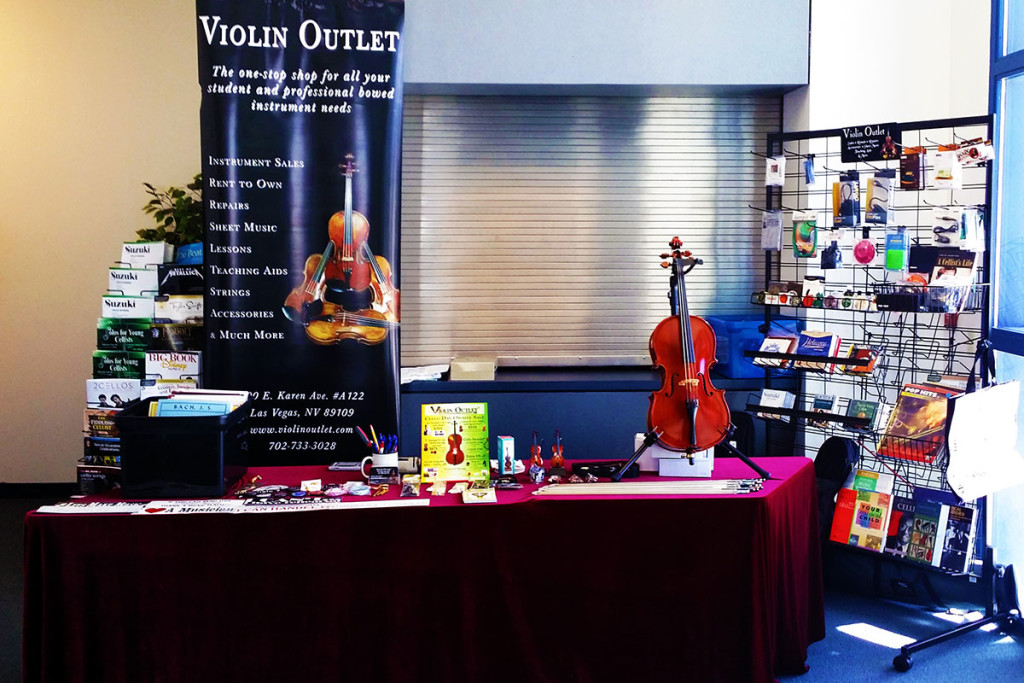 Violin Outlet sets up a beautiful display at cello day 2015