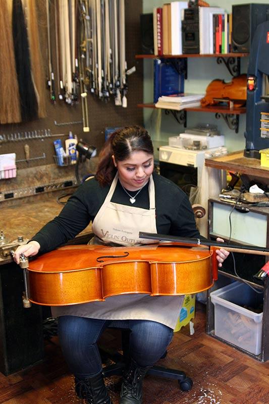 Cello repair in progress