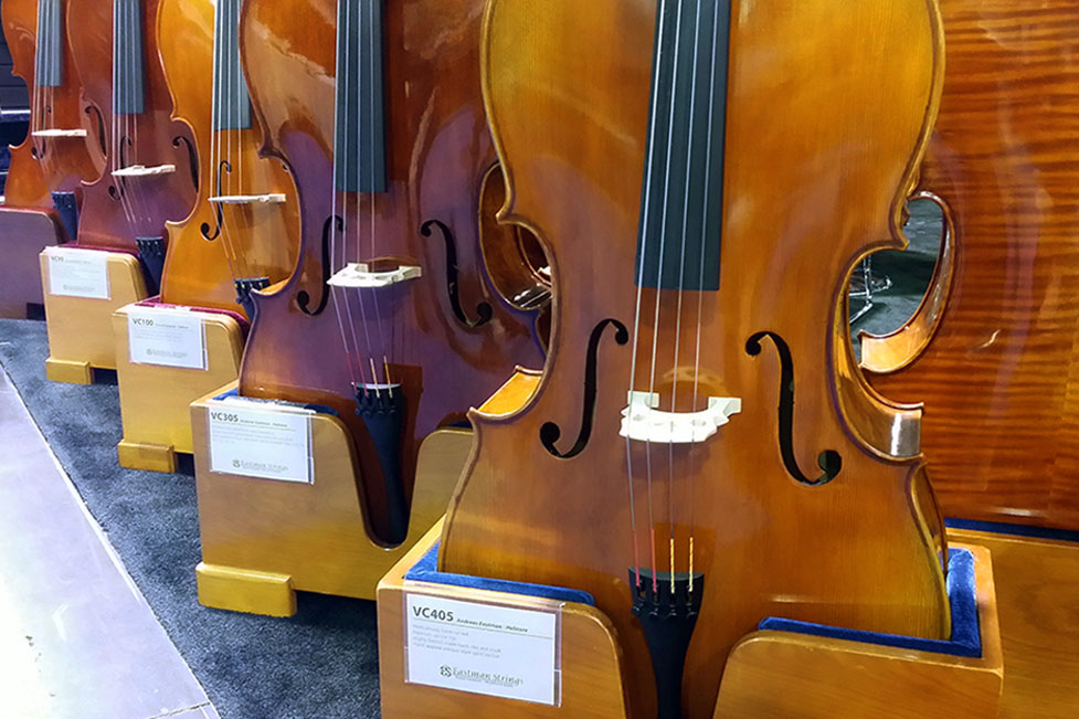 Some of the beautiful cello Eastman Strings had on display at the 2015 Namm show