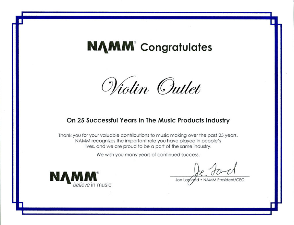 NAMM Award for 25 years