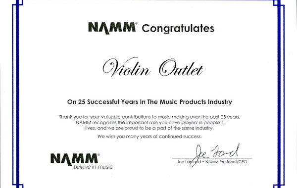 Violin Outlet Receives a NAMM Award