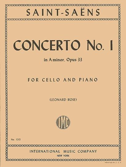 Saint-Saens Concerto No. 1 in A Minor for Cello, Opus 33 - International Ed.