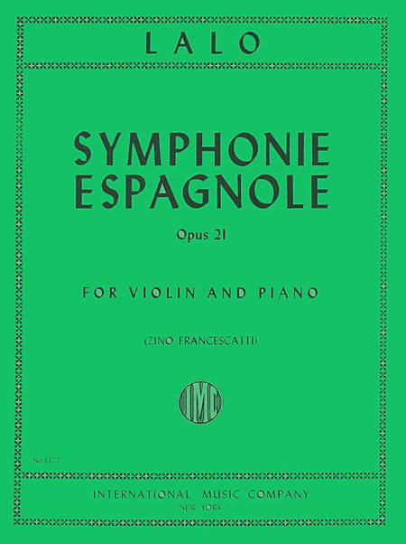 Lalo Symphonie Espagnole for Violin, Op. 21 - International Ed.