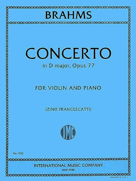 Brahms Concerto in D major for Violin, Op. 77 - International Ed.