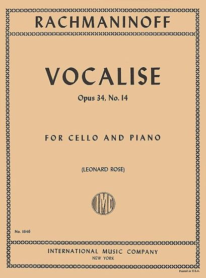 Rachmaninoff Vocalise for Cello – Opus 34, No.14 – International Ed.