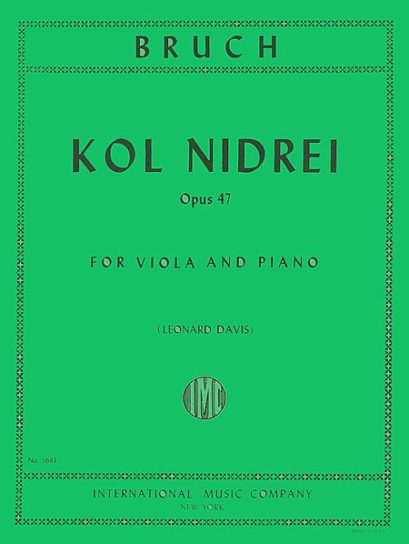 Bruch Kol Nidrei for Viola, Op. 47 - International Ed.