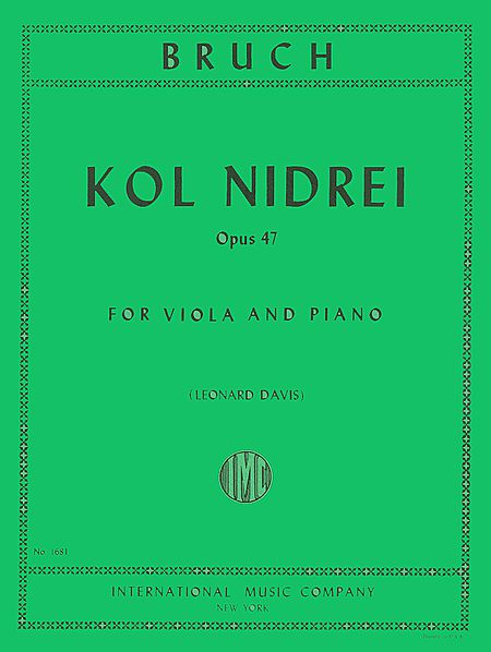 Bruch Kol Nidrei for Viola, Op. 47 - International Ed.