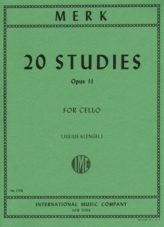 Merk 20 Studies for Cello, Opus 11 - International Ed.