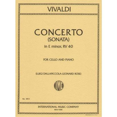 "Vivaldi Concerto in E minor for Cello (Sonata No. 5 from ""Six Sonatas,"" RV 40) – International Ed."