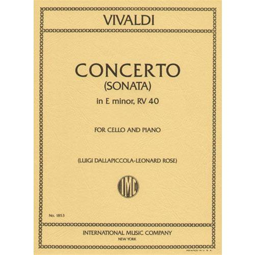 "Vivaldi Concerto in E minor for Cello (Sonata No. 5 from ""Six Sonatas,"" RV 40) - International Ed."