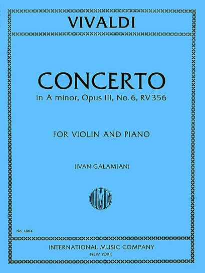 Vivaldi Concerto in A minor for Violin, RV 356 (Op. 3, No. 6) - International Ed.