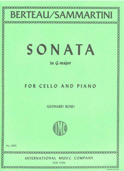 Berteau Sonata in G Major for Cello (formerly attributed to Sammartini) – International Ed.