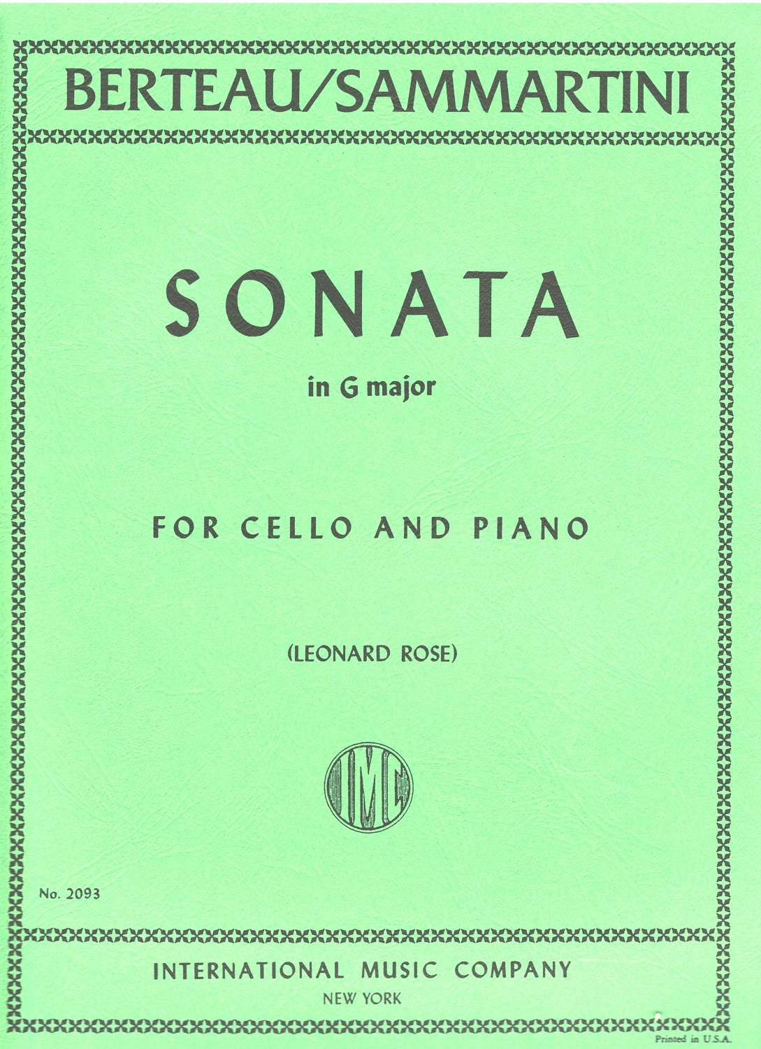 Berteau Sonata in G Major for Cello (formerly attributed to Sammartini) - International Ed.