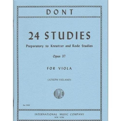 Dont 24 Studies for Viola, Op. 37 (preparatory to Kreutzer and Rode Studies) - International Ed.