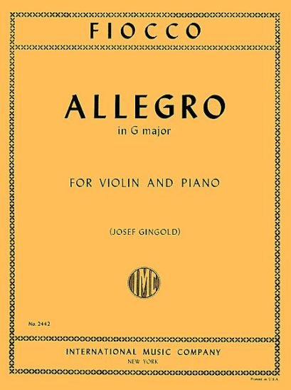 Fiocco Allegro for Violin - International Ed.