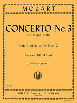 Mozart Concerto No. 3 for Violin in G Major - International Ed.