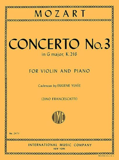Mozart Concerto No. 3 for Violin in G Major – International Ed.