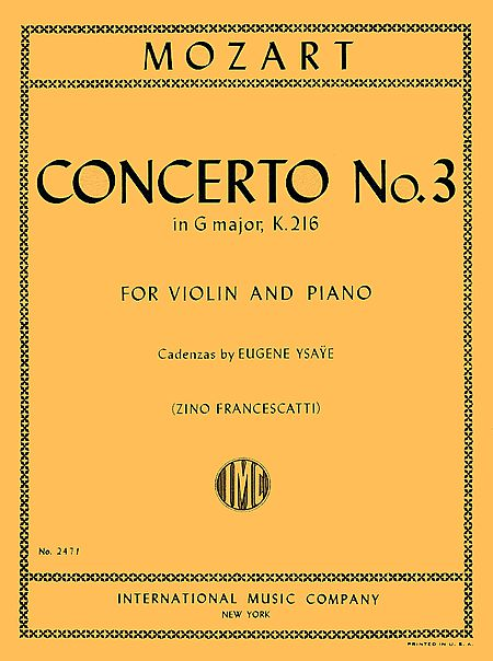 Mozart Concerto No. 3 for Violin in G Major - International Ed.