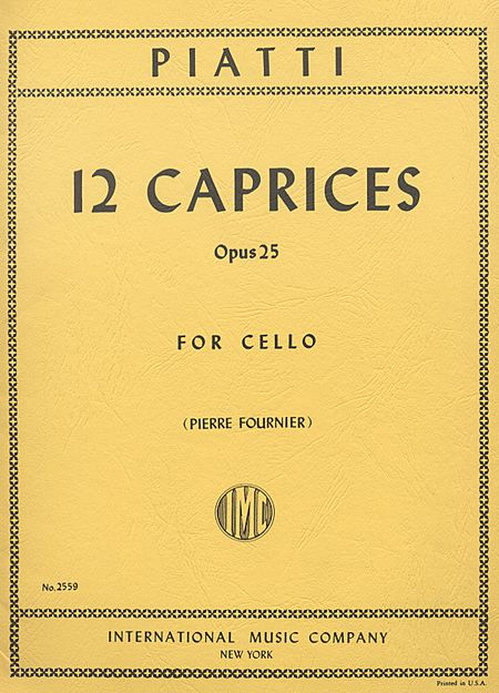 Piatti 12 Caprices for Cello, Op. 25 - International Ed.