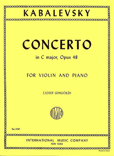 Kabalevsky Concerto in C major for Violin, Opus 48 - International Ed.
