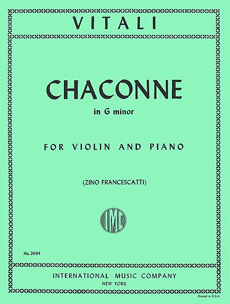 Vitali Chaconne in G minor for Violin - International Ed.