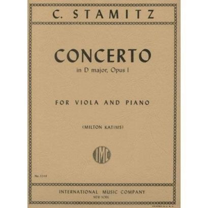 Stamitz Concerto in D Major for Viola, Opus 1 – International Ed.