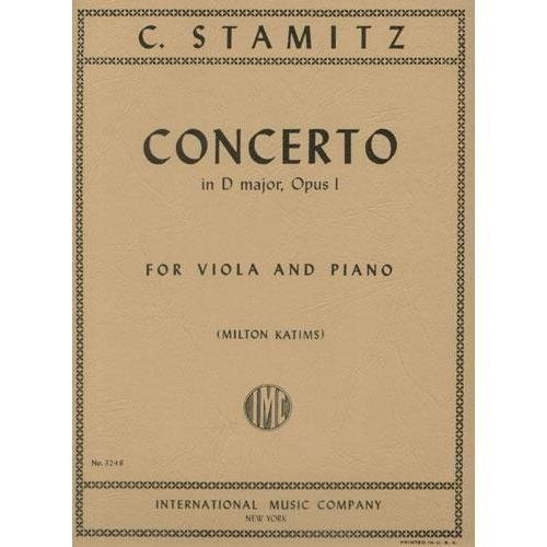 Stamitz Concerto in D Major for Viola, Opus 1 - International Ed.