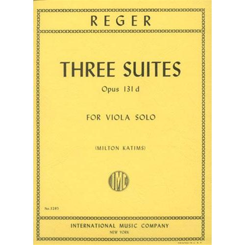 Reger Three Suites for Viola - International Ed.