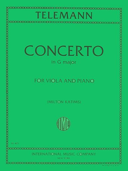 Telemann Concerto in G Major for Viola – International Ed.