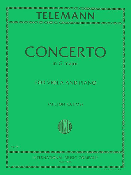 Telemann Concerto in G Major for Viola - International Ed.