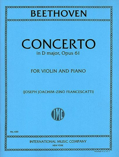 Beethoven Concerto in D Major for Violin - International ed.