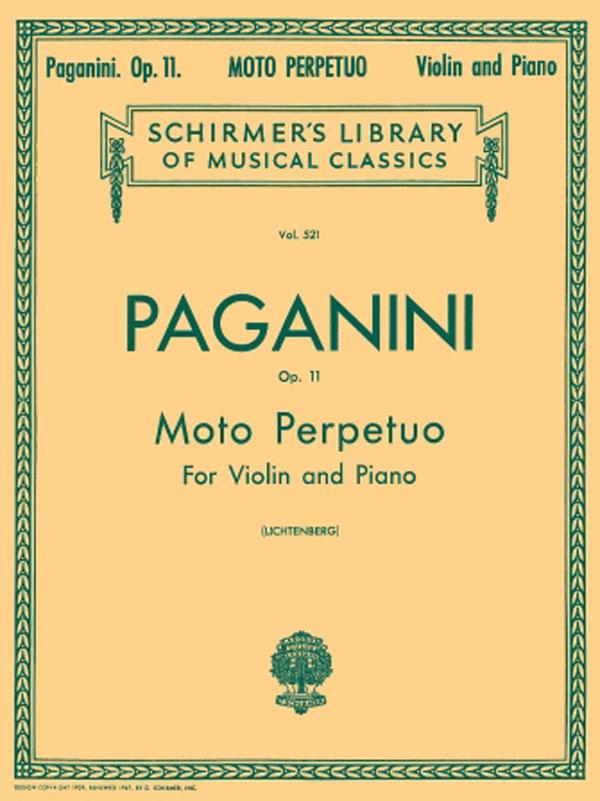 Paganini Moto Perpetuo for Violin, Opus 11 – Schirmer Ed.
