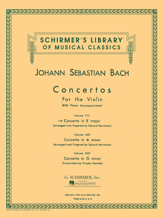 Bach Concerto in E Major for Violin -Schirmer Ed.