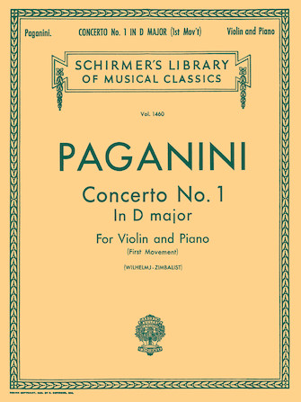 Paganini Concerto No. 1 for Violin in D Major – Schirmer Ed.