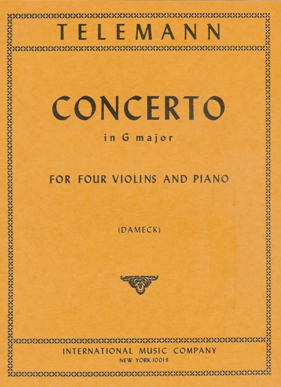Telemann Concerto in G major for Four Violins - International Ed.